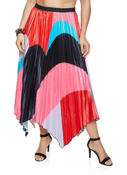 Plus Size Pleated Asymmetrical Hem Maxi Skirt - 1862062122474