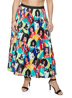 Plus Size Face Graphic Pleated Skirt - 1862062122855