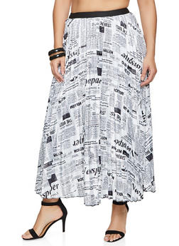 Plus Size Newspaper Print Pleated Skirt - 1862062122856