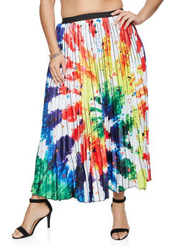Plus Size Paint Splatter Pleated Skirt - 1862062122857
