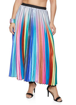 Plus Size Striped Pleated Skirt - 1862062122858