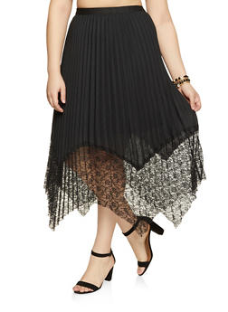 Plus Size Pleated Sharkbite Skirt - 1862062122950