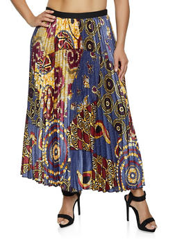 Plus Size Dashiki Printed Pleated Skirt - 1862062125582