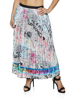Plus Size Graffiti Print Pleated Skirt - 1862062125583