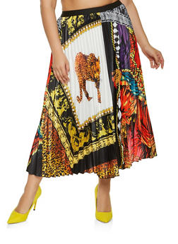 Plus Size Mixed Print Pleated Skater Skirt - 1862062125585