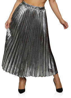 Foil Pleated Maxi Skirt - 1862062129174