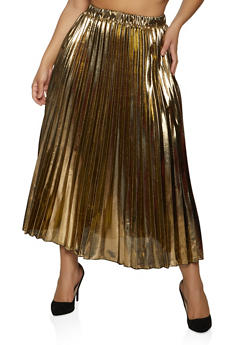 Foil Pleated Maxi Skirt - 1862062129174