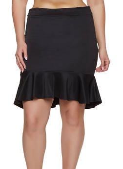 Plus Size Ruffle Hem Pencil Skirt - 1862062411504