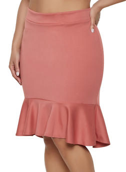 Plus Size Ruffle Hem Pencil Skirt - 1862062411504