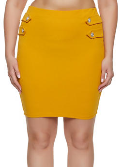 Plus Size Tabbed Button Skirt - 1862062415152