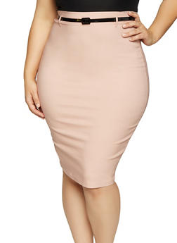 Plus Size Belted Stretch Pencil Skirt - 1862062700008