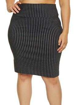 Plus Size Striped Pencil Skirt - 1862062700885