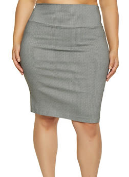 Plus Size Printed Pencil Skirt - 1862062700887