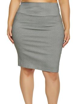 Plus Size Printed Pencil Skirt - 1862062700887