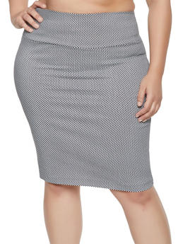 Plus Size Printed Pencil Skirt - 1862062700888