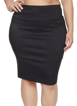 Plus Size Printed Pencil Skirt - 1862062700889