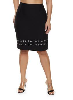 Plus Size Grommet Trim Pencil Skirt - 1862062705742