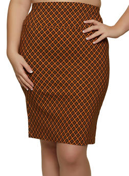 Plus Size Printed High Waisted Skirt - 1862062708846