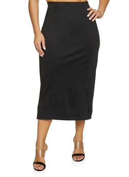Plus Size High Waisted Pencil Skirt - 1862062708847