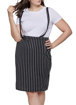 Plus Size Striped Suspender Skirt - 1862074011625