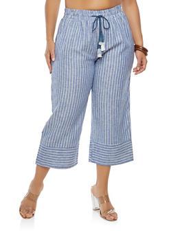 Plus Size Striped Linen Palazzo Pants - 1865060582318