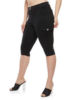 Womens Plus Size Black Capri Pants