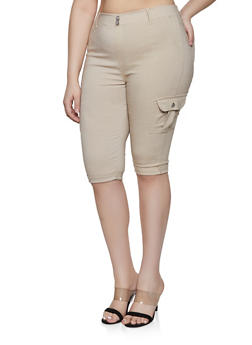 Plus Size Stretch Cargo Capris - 1865063407265