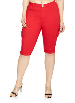 Womens Plus Size Stretch Polyester Pants