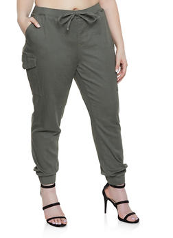 Plus Size Basic Cargo Joggers - 1870015990004