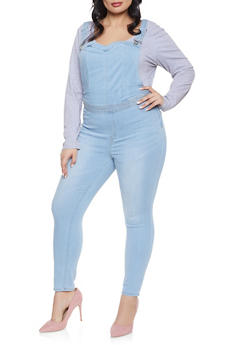Plus Size Almost Famous Denim Overalls - 1870015990037