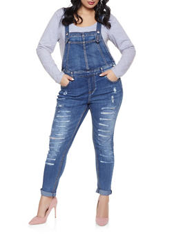 Plus Size Almost Famous Destruction Denim Overalls - 1870015990038