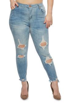 Plus Size Almost Famous Destruction Skinny Jeans - 1870015990101