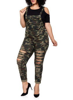 Plus Size Almost Famous Destroyed Camo Overalls - 1870015990138
