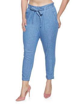 Plus Size Almost Famous Chambray Tie Front Trousers - 1870015990158
