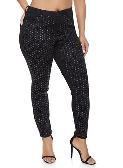 Plus Size Almost Famous Rhinestone Studded Jeans - 1870015990249