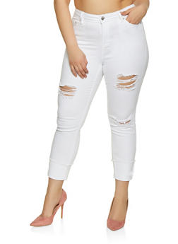 Plus Size Almost Famous Frayed Cuff Jeans - 1870015991184