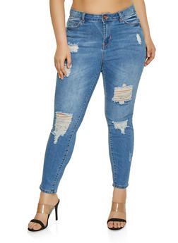 Plus Size Almost Famous Destroyed Skinny Jeans - 1870015991186