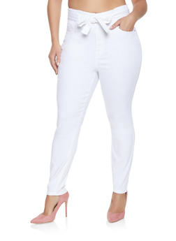 Plus Size Almost Famous Belted Push Up Jeans - 1870015991337