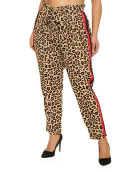 Plus Size Leopard Print Paper Bag Waist Pants - 1870015991583