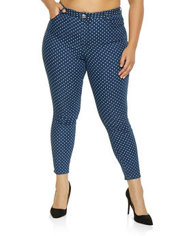 Plus Size Almost Famous Polka Dot Jeans - 1870015993000