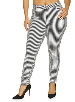 Plus Size Almost Famous Striped Skinny Jeans - 1870015993075
