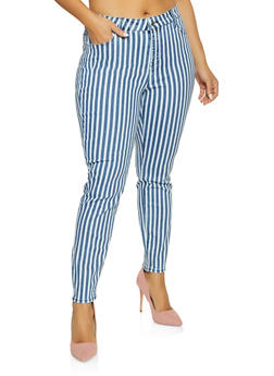 Plus Size Almost Famous Striped Skinny Jeans - 1870015993076