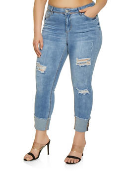 Plus Size Almost Famous Roll Cuff Jeans - 1870015998411