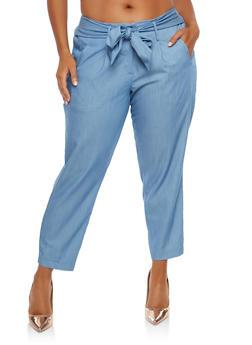 Plus Size Tie Front Pants - 1870056571222