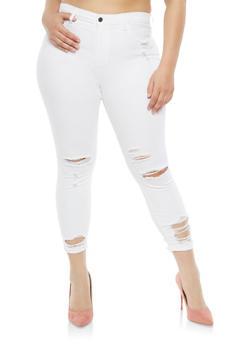 Plus Size Cello Distressed Skinny Jeans - 1870063152244