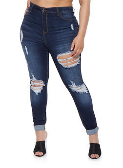 Plus Size Cello High Waisted Ripped Jeans - 1870063156169