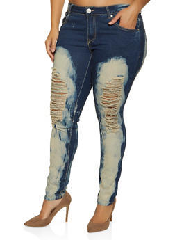 Plus Size Ripped Bleached Jeans - 1870063404678