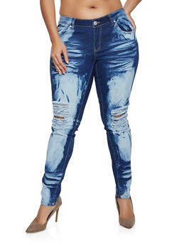 Plus Size Bleached Whisker Wash Jeans - 1870063408299