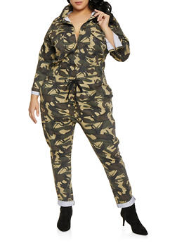 Plus Size Camo Button Front Jumpsuit - 1870063409270