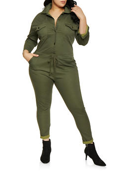 Plus Size Collared Button Front Jumpsuit | Olive - 1870063409271
